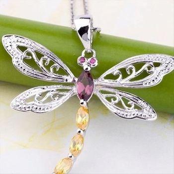 【米蘭精品】水晶蜻蜓925純銀 項鍊 飾品墜子