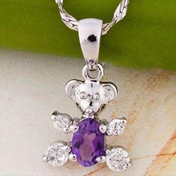 【米蘭精品】紫水晶小熊925純銀 項鍊 飾品墜子