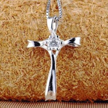 【米蘭精品】十字架925純銀 項鍊 飾品墜子