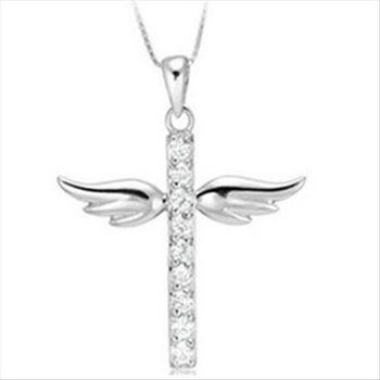 【米蘭精品】小天使翅膀925純銀 項鍊 飾品墜子