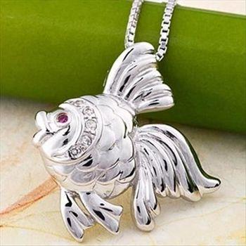【米蘭精品】小金魚925純銀 項鍊 飾品墜子