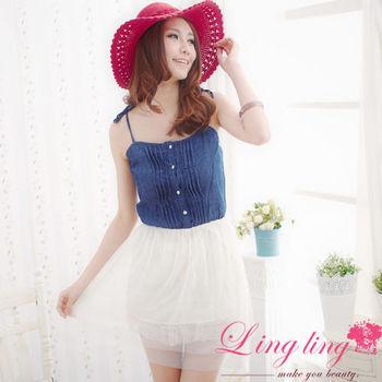 【lingling】牛仔蕾絲細肩時尚洋裝(時尚藍)A960-01
