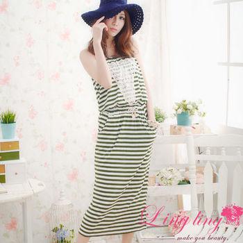 【lingling】平口條紋長洋裝(優感綠)A943-02
