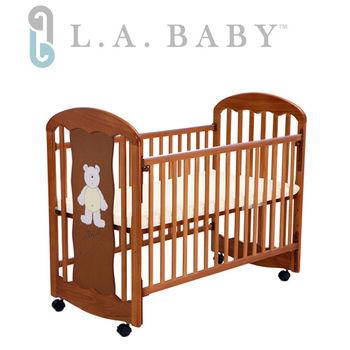【美國 L.A. Baby】卡羅萊納嬰兒搖擺中床/童床-咖啡色