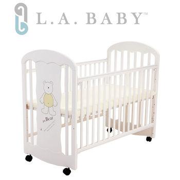 【美國 L.A. Baby】卡羅萊納嬰兒搖擺中床/童床-白色