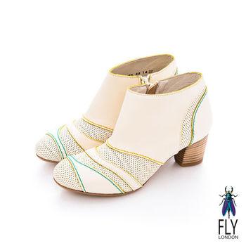 Fly London(女)★ 微芙  拼貼牛皮低跟踝靴 - 波白