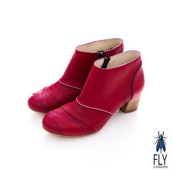 Fly London(女)★ 微芙  拼貼牛皮低跟踝靴 - 浪紅