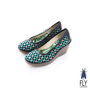 Fly London(女)★ 彩格瘋 經典坡跟膠底楔型鞋 - 亂藍綠