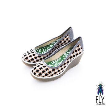 Fly London(女)★ 彩格瘋 經典坡跟膠底楔型鞋 - 黑白格