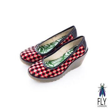Fly London(女)★ 彩格瘋 經典坡跟膠底楔型鞋 - 粉撲紅