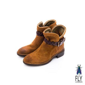 Fly London(女)★小紅帽的靴 騎士風V字開口方跟小短靴 - 樹林棕