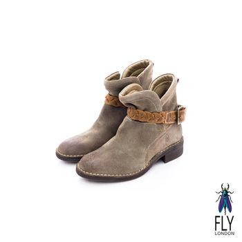 Fly London(女)★小紅帽的靴 騎士風V字開口方跟小短靴 - 野狼灰