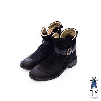 Fly London(女)★小紅帽的靴 騎士風V字開口方跟小短靴 - 爵士黑