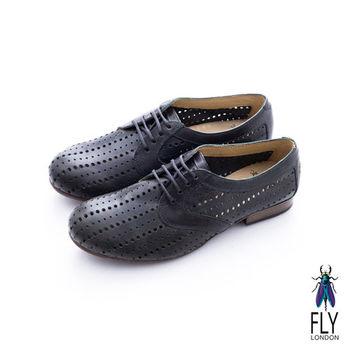 Fly London(女)★洞洞裝 潮流牛皮直列洞洞牛津皮鞋 - 黑洞黑