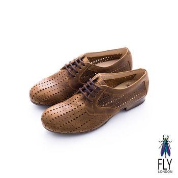 Fly London(女)★洞洞裝 潮流牛皮直列洞洞牛津皮鞋 - 琥珀棕