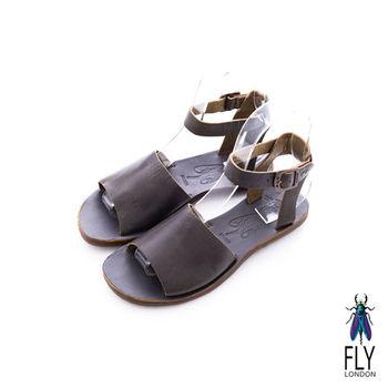 Fly London(女)★ 厚片吐司 一片式極簡牛皮踝帶涼鞋 - 巧克力