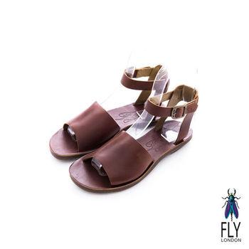 Fly London(女)★ 厚片吐司 一片式極簡牛皮踝帶涼鞋 - 拿鐵咖