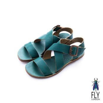 Fly London(女)★競技之日 大交叉裸帶真皮平底涼鞋 - 精靈綠