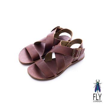 Fly London(女)★競技之日 大交叉裸帶真皮平底涼鞋 - 日曬棕