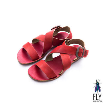 Fly London(女)★競技之日 大交叉裸帶真皮平底涼鞋 - 烈日紅