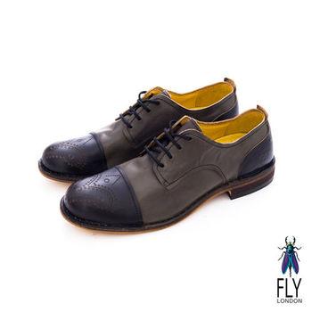 Fly London(男)★復刻型男剪接皮鞋 - 黑/深灰