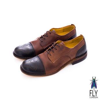 Fly London(男)★復刻型男剪接皮鞋 - 黑/咖