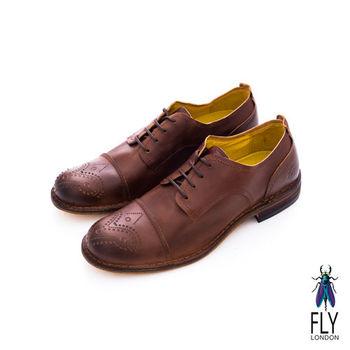 Fly London(男)★復刻型男剪接皮鞋 - 棕色