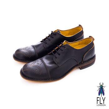 Fly London(男)★復刻型男剪接皮鞋 - 黑色