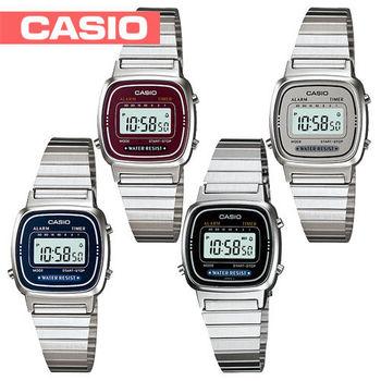 【CASIO 卡西歐】日系-復古風銀色系電子女錶(LA670WA)