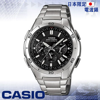 【CASIO 卡西歐】日系-太陽能電波_三眼運動錶(WVQ-M410DE 黑)