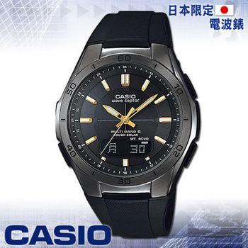 【CASIO 卡西歐】日系_太陽能電波_橡膠錶帶運動錶(WVA-M640B 黑)