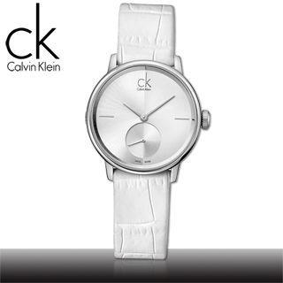 【瑞士 CK手錶 Calvin Klein】獨立秒針白面紋路皮革女錶