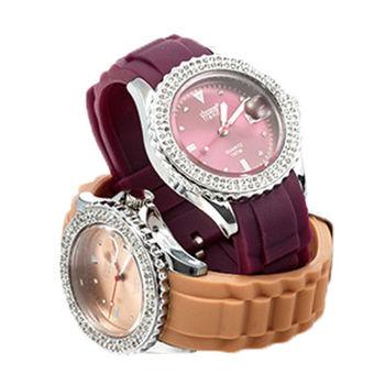 CHRONO TREND 低調奢華時尚晶鑽腕錶(香檳)