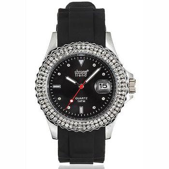 CHRONO TREND 低調奢華時尚晶鑽腕錶(黑)