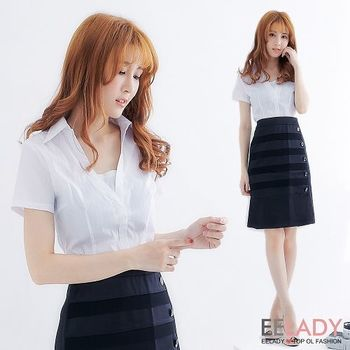 【EELADY中大碼】假二件V領小可愛短袖襯衫(白)44-46吋