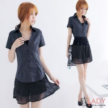 【EELADY】假二件V領小可愛短袖襯衫(黑)44-46吋