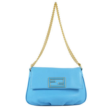 FENDI 經典金屬雙F LOGO皮革金鍊兩用晚宴包/手拿包.藍