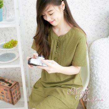 【魔法拉拉】大碼 亞麻森林系領口小包扣短袖洋裝A536(雅緻綠)