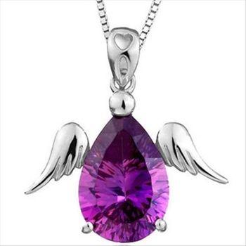 【米蘭精品】特閃紫水晶925純銀 項鍊 飾品墜子