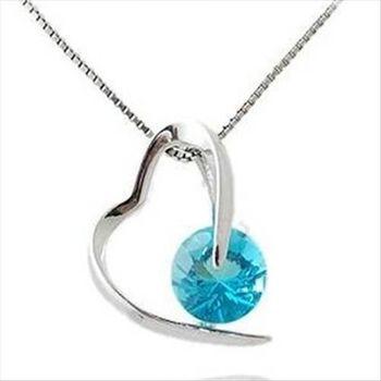 【米蘭精品】寶藍水晶925純銀 項鍊 飾品墜子