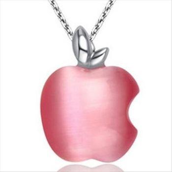 【米蘭精品】蘋果貓眼石925純銀 項鍊 飾品墜子