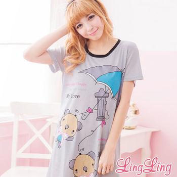lingling日系 全尺碼-可愛熊熊雨傘印圖T連身棉睡衣(亮彩黑)A1547-02