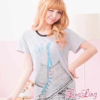 lingling日系 全尺碼-高筒球鞋印圖T連身睡衣(休閒黑)A1546-02