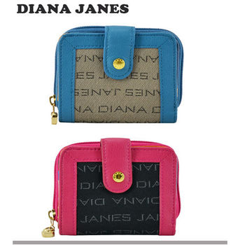 【Diana Janes 黛安娜】織布配牛皮多層短夾(共三色)