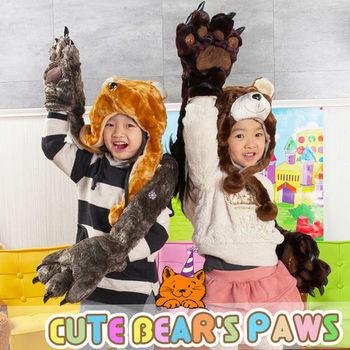 UHO 卡哇伊 超保暖 動物帽 圍巾 熊掌 手套 溫暖您的手