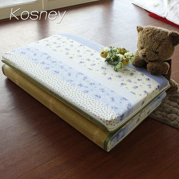 【KOSNEY】藍彩香語 台灣製8cm三折式冬夏兩用床墊3x6尺單人