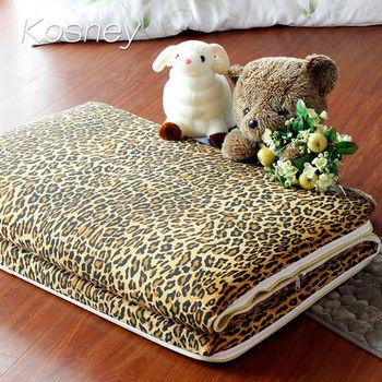 【KOSNEY】豹紋金語 大青竹軟式三折式冬夏兩用床墊3x6尺單人