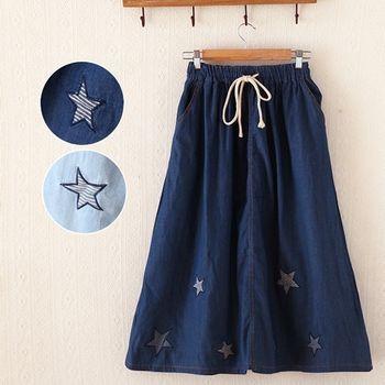 【Moriya日森系 】清新純色星型刺繡抽繩牛仔中長裙FD277