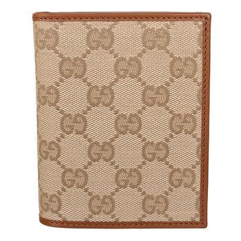 GUCCI G-logo防潑水皮革邊雙折短夾(駝/有盒)