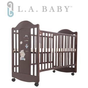 【美國 L.A. Baby】達拉斯嬰兒床/搖擺中床/童床/原木床(深咖啡色)